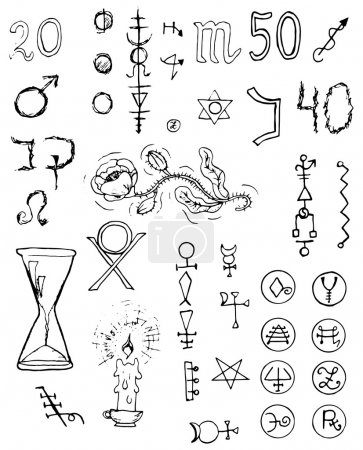 Illustration for Graphic black and white set with magic and mystic signs and symbols. Hand drawn engraved collection - Royalty Free Image