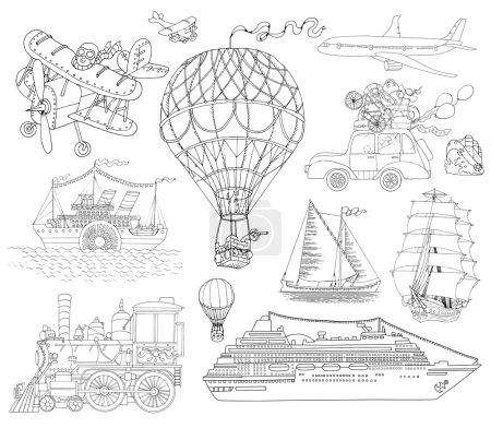 Hand drawn doodle transport set