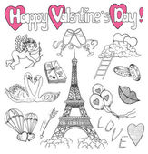 Valentines Day doodle set with love icons the Eiffel Tower angel or Cupid and symbols Line art holiday illustration with hand drawn design elements and banner with text