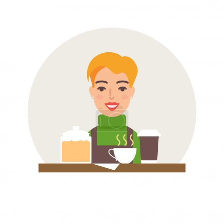 Small business - coffee shop vector illustration f...