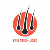 Epilation logo with hair root concept of tricholog aid clinic split ends hair loss alopecia beauty salon isolated on white background flat style trend modern brand design vector illustration