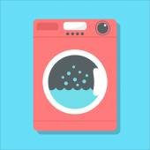 Red washing machine in flat style isolated on blue background vector illustration