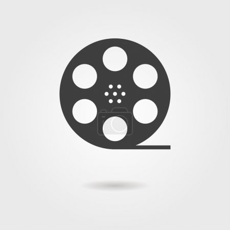 Illustration for Film reel icon with shadow. concept of filmmaking, documentary, photograph, cinematograph and 35 mm film. isolated on grey stylish background. trendy modern logo design vector illustration - Royalty Free Image