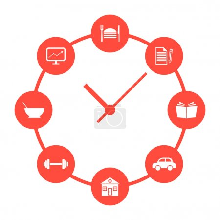 concept of daily routine with red simple watches