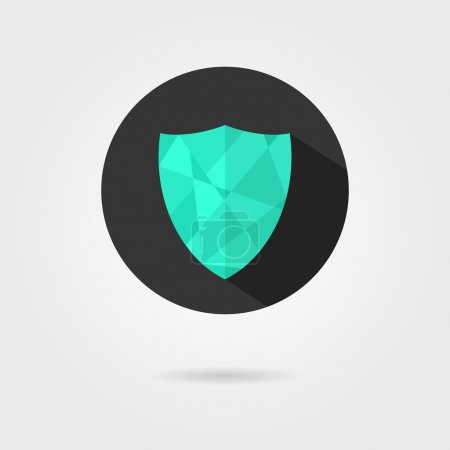 green shield icon on black circle with shadow