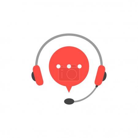 Illustration pour Casque avec microphone et bulle rouge. concept de consultation, e-commerce, marketing en direct, hotline toute la journée. isolé sur fond blanc. illustration de conception de logotype moderne de style plat - image libre de droit