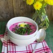 Постер, плакат: Beetroot soup Holodnik Cold soup made from beets cucumbers e