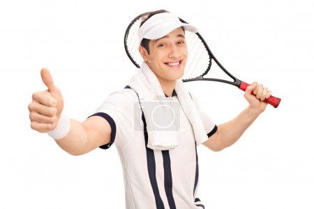 Cheerful tennis player holding a racket