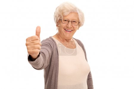 Elderly woman giving a thumb up