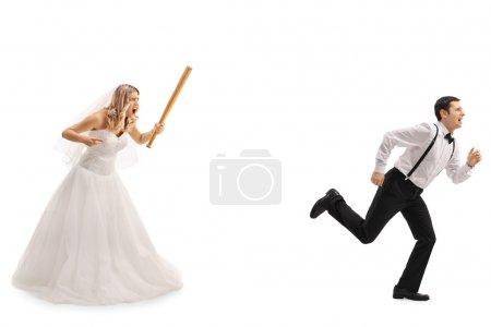 Bride chasing the groom with a bat