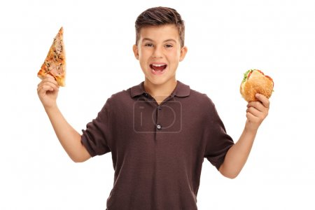 Kid holding a sandwich and a slice of pizza