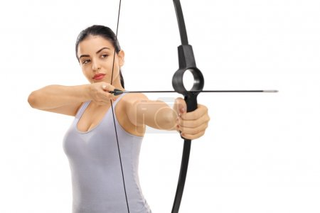 Woman aiming with a bow and arrow isolated on whit...