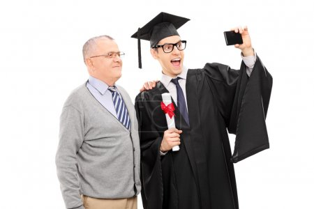 College graduate with his father