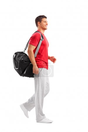 Male athlete with sports bag
