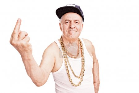 Senior man in hip-hop clothes