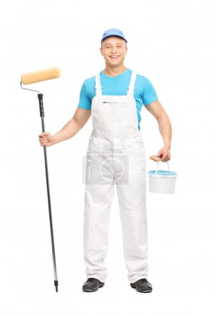 House painter holding a paint roller