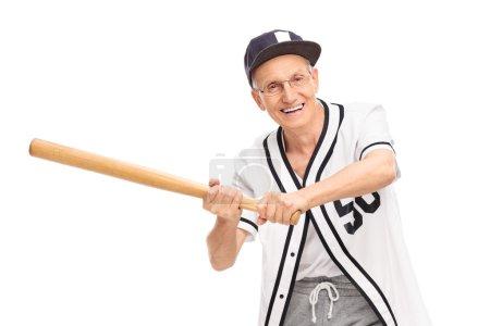 Senior man in a baseball jersey