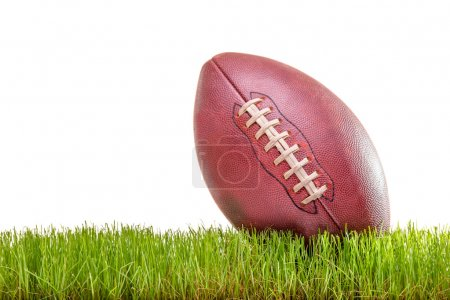 American football on a grass surface