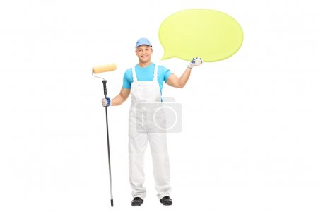 house painter holding a speech bubble