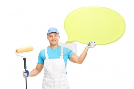 house decorator holding speech bubble