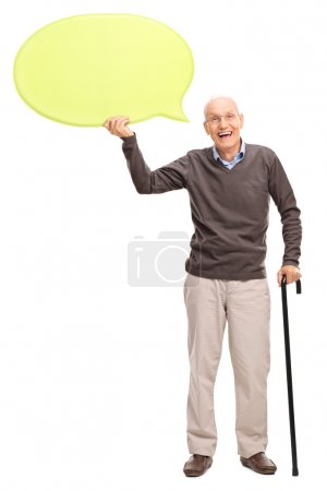 Senior gentleman holding a yellow speech bubble