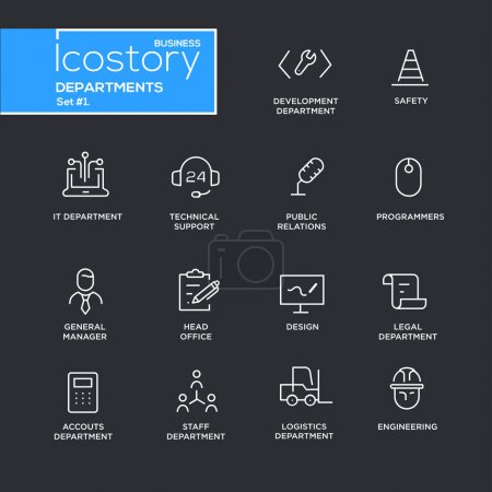 Set of office departments line flat design icons and pictograms.