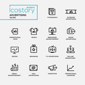 Modern advertising simple thin line design icons pictograms set