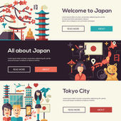 Japan travel banners set with landmarks famous Japanese symbols