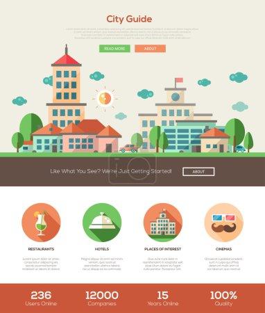 City guide website header banner with webdesign elements