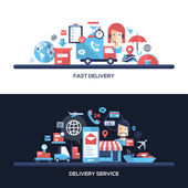 Flat design delivery service website headers banners set