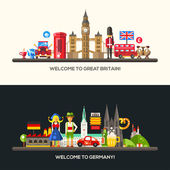 Germany Great Britain travel banners set with famous French symbols