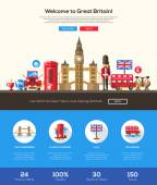 Traveling to Great Britain website header banner with webdesign elements