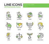 Set of modern vector line design icons and pictograms of 12 zodiac signs Capricorn aquarius pisces aries taurus gemini cancer leo sagittarius virgo