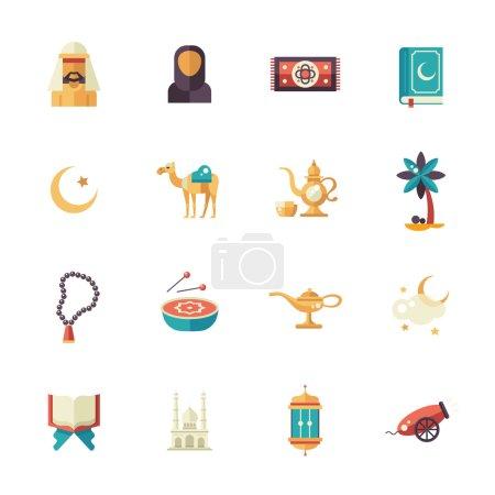 Illustration pour Ensemble de design plat vectoriel moderne icônes isolées de vacances islamiques, la culture. Musulman mâle, femelle, chameau, canon, mosquée, perles de prière, lampe, tambour - image libre de droit