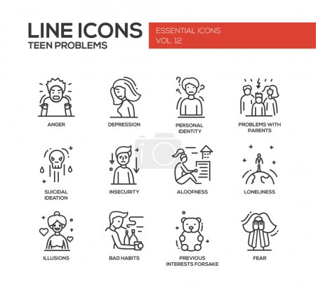 Illustration for Set of modern vector plain line design icons and pictograms of teenager problems. Anger, depression, personal identity, problems with parents, insecurity, aloofness, loneliness, illusions, bad habits - Royalty Free Image