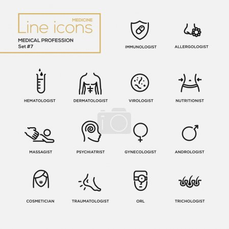 Medical profession simple thin line design icons, pictograms set