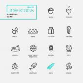 Allergens - simple thin line design icons, pictograms set