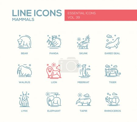 Mammals - line design icons set