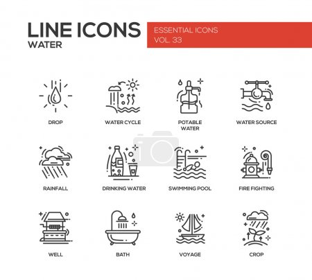 Water - modern vector plain line design icons and ...