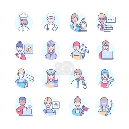Photo pour Professions - lignes modernes colorées icônes de style de conception. Spécialistes hommes et femmes. Cook, docteur, enseignant, homme d'affaires, policier, nettoyeur, programmeur, mécanicien, architecte, juge, soudeur - image libre de droit