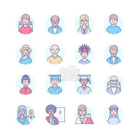 Photo pour Diversité - ensemble d'icônes de style design moderne. Images d'hommes et de femmes d'âges, de sexes, d'ethnies, de capacités physiques, de professions différents. Aîné, adulte, Africain, Chinois, Arabe, caractères juifs - image libre de droit
