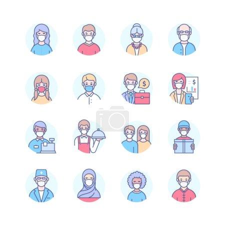 Photo pour Les gens dans les masques faciaux - lignes modernes icônes de style de conception ensemble. Personnes d'âge, de sexe, d'origine ethnique différents, professions portant un équipement de protection individuelle. Personnages seniors, adultes, hommes et femmes - image libre de droit