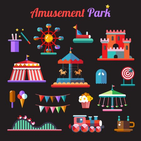Set of flat design amusement park icons