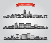 Set of vector flat design buildings pictograms