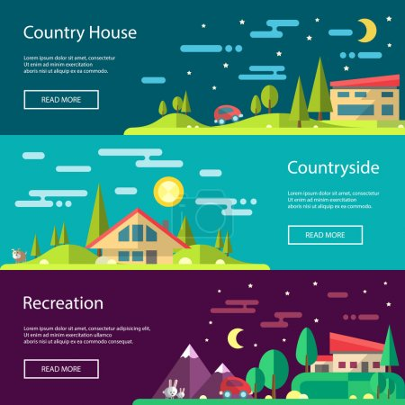 Illustration for Modern flat design conceptual vector landscape illustrations with buildings - Royalty Free Image
