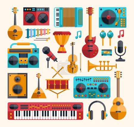 Illustration pour Ensemble d'instruments de musique et d'icônes d'outils de musique de design plat moderne vectoriel - image libre de droit