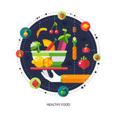 Illustration of flat design fruits and vegetables icons composit