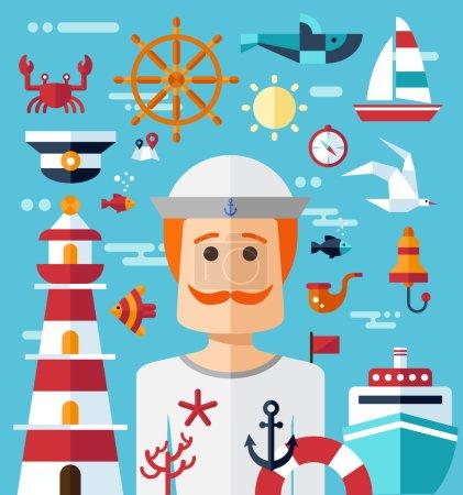 Illustration of vintage flat design modern nautical, marine comp