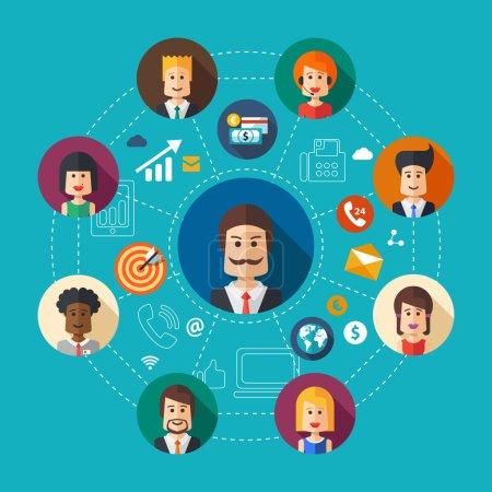 Illustration pour Illustration de la composition vectorielle du travail d'équipe d'entreprise de design plat - image libre de droit