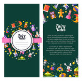 Flyer of template vector modern fairy tales flat design magic icons and elements